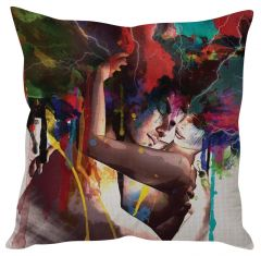 Stybuzz Couple Painting Art Red Cushion Cover