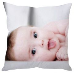 Stybuzz Tongue Sticking Out Baby White Cushion Cover