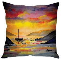 Stybuzz River And Boat Painting Art Orange Cushion Cover