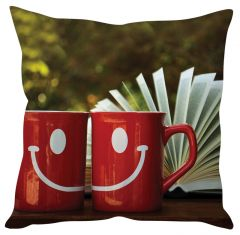 Stybuzz Happy Coffe Mugs Red Cushion Cover