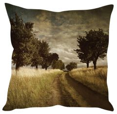 Stybuzz Vintage Field Art Brown Cushion Cover