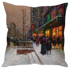 Stybuzz Snow Art Painting White Cushion Cover