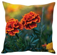 Stybuzz Marigold Flowers Green Cushion Cover