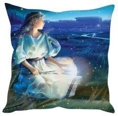 Stybuzz Anime Girl In Field Blue Cushion Cover
