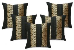 Stybuzz Black Embroidered Cushion Covers - Set Of 5 - (Product Code - EMBR00012)