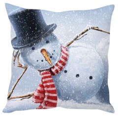 Stybuzz Funny Christmas Snowman White Cushion Cover