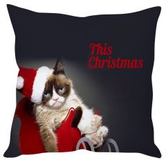 Stybuzz Sad Grey Santa Cat Cushion Cover