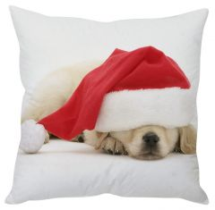 Stybuzz Sleeping Santa Pup White Cushion Cover