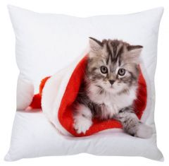 Stybuzz Playing Santa Cat White Cushion Cover