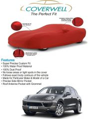 Coverwell Designer Red Waterproof Custom Fit Car Body Cover For Porsche Cayenne