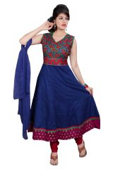 Divinee Blue Cotton Readymade Anarkali Red - (Product Code - F_119_Blue)