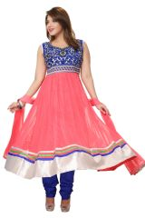 Divinee Old Rose and Blue Net and Velvet Readymade Anarkali Suit - (Product Code - F_146)