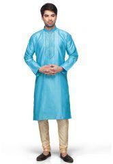 Divinee Aqua Blue Art Silk Readymade Kurta With Churidar - (Product Code - 1005_DM_519)