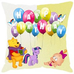 "Fabulloso Leaf Designs Happy B""day Cushion Cover - 8x8 Inches"