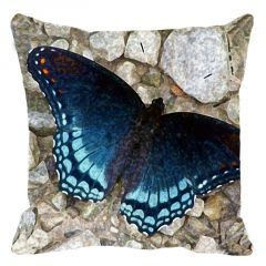 Leaf Designs Blue Butterfly On Pebbles Cushion Cover - Code  53864302091