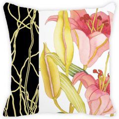 Fabulloso Leaf Designs Black Band And Multicoloured Floral Cushion Cover - 16x16 Inches