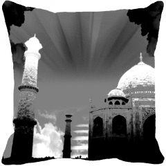 Fabulloso Leaf Designs Taj Mahal Black & White Cushion Cover - 18x18 Inches