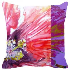 Fabulloso Leaf Designs Water Effect Floral Cushion Cover - 16x16 Inches