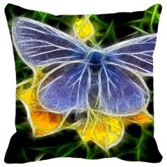 Leaf Designs Yellow & Blue Butterfly Cushion Cover - Code  53862972091
