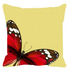 Leaf Designs Red And Lemon Butterfly Cushion Cover - Code  53864382091