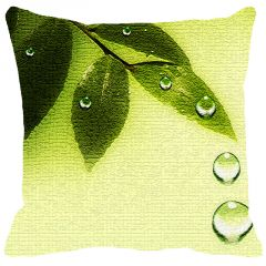 Leaf Designs Green Leaves And Drops Cushion Cover - Code  53863372091