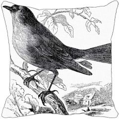 Leaf Designs Black And White Bird Cushion Cover - Code  53863572091