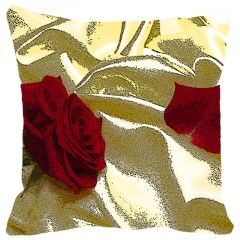 Leaf Designs Red Rose Cushion Cover - Code  53862712091
