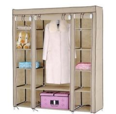 BROWN 3 Door Foldable Almirah Wardrobe Cupboard