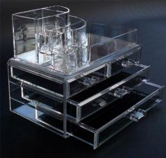 SOULBEAUTY Acrylic Makeup Organizer Luxury Cosmetics 3 Layers 4 Drawers Acrylic Clear Case Storage Insert Holder Box