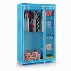 Sky Blue Foldable Wardrobe Cupboard Almirah