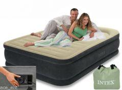 Intex Queen Size Air Bed Fibre Tech Comfort Pillow Rest With Pump