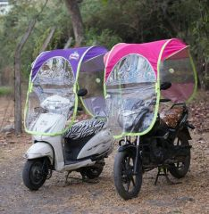 HOMEBASICS DIY Scooter/Bike Umbrella all seasons polyester rainy summer For all 2 Wheeler