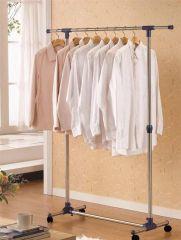 Cloth stands - Portable Single Pole Telescopic Clothes Rack Clothes Dryer Shoe Rack Wheels