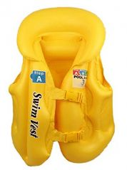 SWIMBASICS: Swim Jacket Kids Children Inflatable Swim Vest Jacket with 3 Valves   2 Quick Release Buckles - For Swimming, Water Sports L size YELLOW