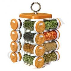 Multipurpose Compact 16 In One Rotating Kitchen Spice Jars