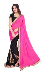 Styloce Pink-Black Georgette Designer Saree With Blouse