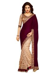 Shop or Gift Styloce Maroon Net-Velvet Designer Saree With Unstitched Blouse Online.