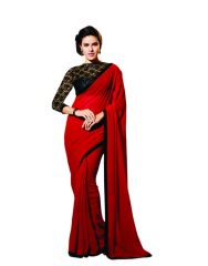 Shop or Gift Styloce Graceful Red Georgette Designer Saree With Unstitched Blouse Online.