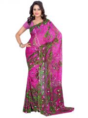 Styloce Georgette Sarees - STYLOCE PINK GEORGETTE SAREE