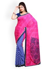 STYLOCE PINK AND BLUE CREPE SAREE