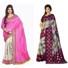 Set Of 2 Bhagalpuri Silk Saree Combo By Styloce. STY-8647-10929
