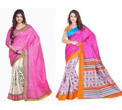Styloce Set of 2 Bhagalpuri Silk Saree Combo. STY-8647-8761
