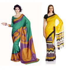 Styloce Set Of 2 Bhagalpuri Silk Saree Combo . STY-8666-8679