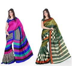Styloce Set Of 2 Bhagalpuri Silk Saree Combo . STY-8685-8686