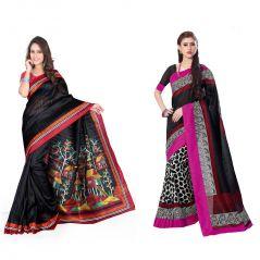 Styloce Set Of 2 Bhagalpuri Silk Saree Combo. STY-8689-8664