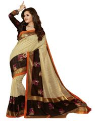 Styloce Silk Sarees - Styloce Beige Color Art Silk Printed Casual Deasigner Saree With Blouse-(Code-STY-8778)