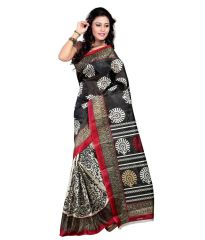 Styloce Silk Sarees - Styloce Black Color Art Silk Printed Casual Deasigner Saree With Blouse-(Code-STY-8803)
