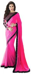 Styloce Women's Clothing - STYLOCE PINK GEORGETTE BOLLYWOOD STYLE SAREE.STY-8812