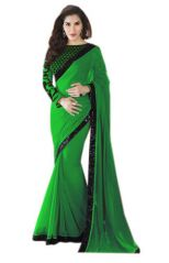 Styloce Bollywood replica sarees and lehengas - STYLOCE GREEN GEORGETTE BOLLYWOOD STYLE SAREE.STY-8827