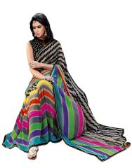 Styloce Georgette Sarees - Styloce Multi Color Georgette Printed Casual Deasigner Saree With Blouse-(Code-STY-8835)